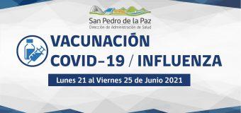 VACUNACIÓN COVID-19 E INFLUENZA SEMANA DEL 22 DE JUNIO EN SAN PEDRO DE LA PAZ