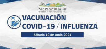 VACUNACIÓN COVID-19 E INFLUENZA SÁBADO 19 DE JUNIO EN SAN PEDRO DE LA PAZ