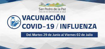 VACUNACIÓN COVID-19 E INFLUENZA SEMANA DEL MARTES 29 DE JUNIO EN SAN PEDRO DE LA PAZ