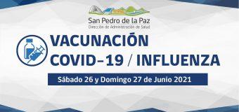 VACUNACIÓN COVID-19 E INFLUENZA SÁBADO 26 Y DOMINGO 27 EN SAN PEDRO DE LA PAZ