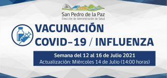 SE SUSPENDE VACUNACIÓN ENTRE 16 Y 18 DE JULIO EN SAN PEDRO DE LA PAZ