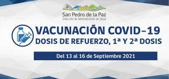 CALENDARIOS Y PUNTOS DE VACUNACIÓN COVID-19 DEL 13 AL 16 DE SEPTIEMBRE EN SAN PEDRO DE LA PAZ