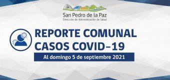 REPORTE SEMANAL COVID-19 SAN PEDRO DE LA PAZ AL DOMINGO 5 DE SEPTIEMBRE 2021